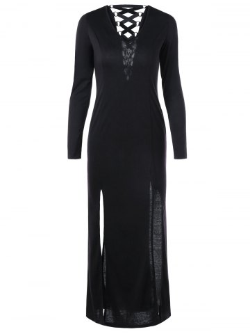 Lace Up Long Sleeve Slit Long Sheath Maxi Dress