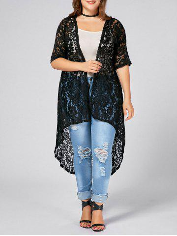 Outfits Plus Size  Long Open Front Lace Crochet Cardigan