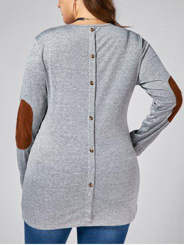 Affordable Back Button  Elbow Patch Plus Size Long Sleeve T-shirt