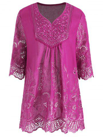 Chic Plus Size V Neck Embroidered Tunic Top