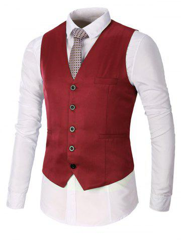 Latest Single Breasted Faux Pocket Waistcoat