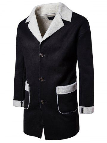 Discount Slot Pocket Notch Lapel Faux Shearling Coat