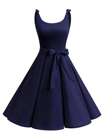 Online Vintage Bowknot Cut Out Skater Party Dress