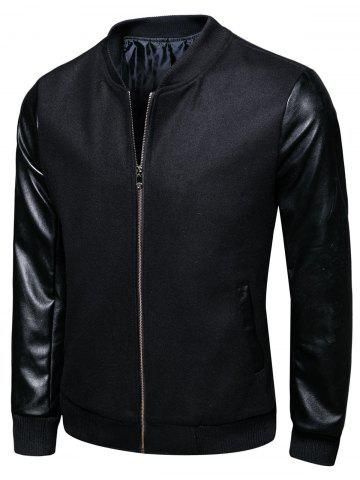 Woolen PU Leather Panel Stand Collar Jacket