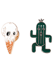 Brooch Set with Skull Ice Cream Cactus - GREEN