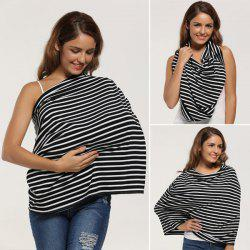 Breastfeeding Portable Striped Nursing Cover Scarf - BLACK STRIPE