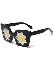 Mirrored Reflective Geometric Star Frame Sunglasses - GOLDEN