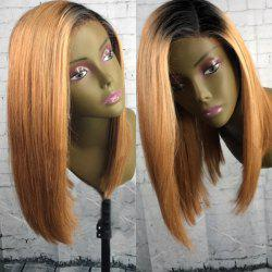 Medium Side Part Dyed Straight Bob Colormix Synthetic Wig - YELLOW AND BLACK
