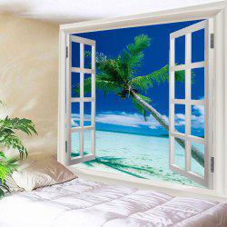 Window Beach Tree Print Tapestry Wall Hanging Art Decoration -