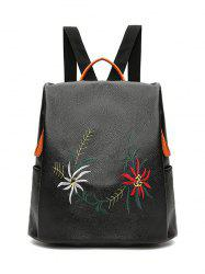 Embroidery Faux Leather Backpack - BLACK