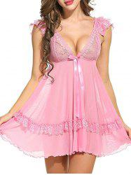 Plunging Neck See Through Swing Babydoll