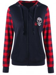 Plaid Insert Zip Up Skull Patched Hoodie - BLACK AND RED M