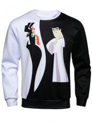 Long Sleeve Color Block Cartoon Print Sweatshirt