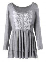 Plus Size Layered Lace Trim Peplum Top