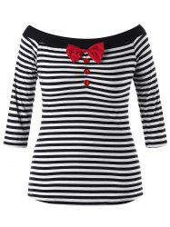 Plus Size Bowknot Decorated Striped Top