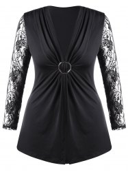Plus Size Lace Trim Twist Front Top -