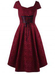 Vintage Cap Sleeve Lace Up Jacquard Dress