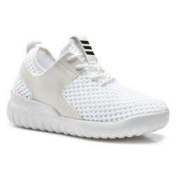 Breathable Mesh Faux Leather Insert Athletic Shoes - WHITE