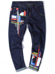 Color Block Print Zipper Fly Straight Leg Jeans