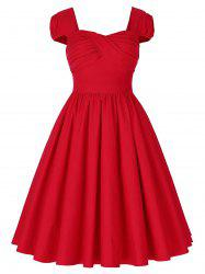 Vintage Puff Sleeve Ruched Pinup Dress - RED 2XL