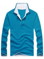 Double Collar Long Sleeve Polo Shirt - LAKE BLUE 3XL