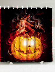 Waterproof 3D Fire Pumpkin Printed Halloween Shower Curtain