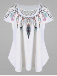 Openwork Feather Print Plus Size Top - WHITE