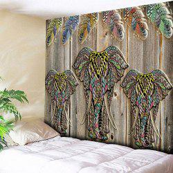 Wood Grain Elephant Printed Wall Hanging Tapestry