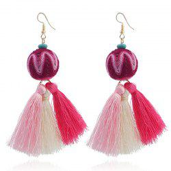 Faux Turquoise Ethnic Ball Tassel Earrings