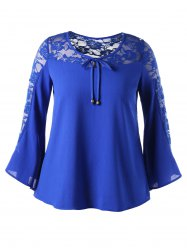 Bell Sleeve Lace Insert Plus Size Blouse