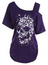 Skull Butterfly Print Skew Neck Plus Size Top -