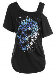 Skew Neck Skull Butterfly Print Plus Size Top