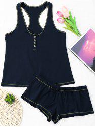 Racerback Cotton Drawstring Tank Pajamas Set