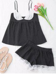 Cami Lace Insert Cotton Pajamas Set -