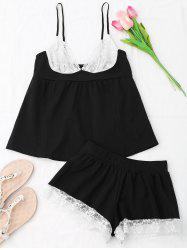 Cami Lace Insert Cotton Pajamas Set