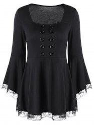 Double Breasted Bell Sleeve Peplum Top - BLACK