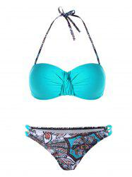 Twist Front Halter Graphic Bikini Set - CASPIAN L