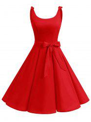 Vintage Bowknot Cut Out Skater Party Dress - Rouge