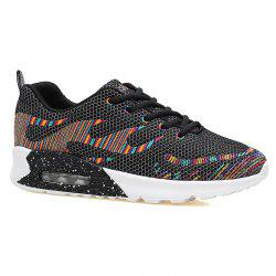 Air Cushion Embroidery Line Athletic Shoes - BLACK 39