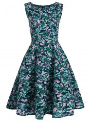 Floral Leaf Printed Sleeveless Vintage Dress