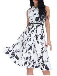 Belted Sleeveless Floral Monochrome Dress