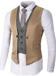 Single Breasted Two Tone Faux Twinset Waistcoat - KHAKI S