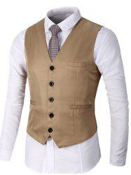 Single Breasted Faux Pocket Waistcoat - KHAKI M