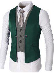 Single Breasted Two Tone Faux Twinset Waistcoat - GREEN 2XL