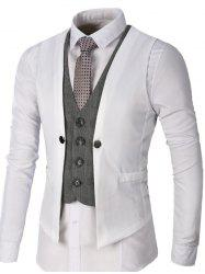 Single Breasted Two Tone Faux Twinset Waistcoat - WHITE M
