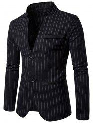 Two Button Vertical Stripe Casual Blazer - BLACK 2XL
