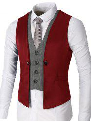 Single Breasted Two Tone Faux Twinset Waistcoat - WINE RED 2XL