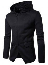 Cotton Blend à capuche Zip Up Casual Blazer - Noir L