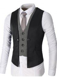 Single Breasted Two Tone Faux Twinset Waistcoat - BLACK 2XL