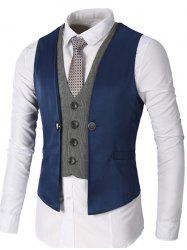 Single Breasted Two Tone Faux Twinset Waistcoat - DEEP BLUE XL